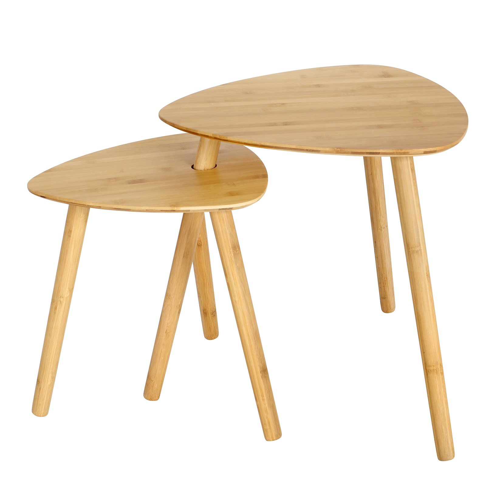SONGMICS Bamboo Nesting Coffee Side Scandinavian End Tables(Set of 2)Modern Decor Side Table for Home and Office, 100% Sturdy Bamboo Wood Natural ULNT352N