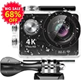 アクションカメラ Banne UHD 4K/25FPS、1080P/60FPS、 12MP 170度広角 30メートル防水 二つのバッテリー付き(H9R)
