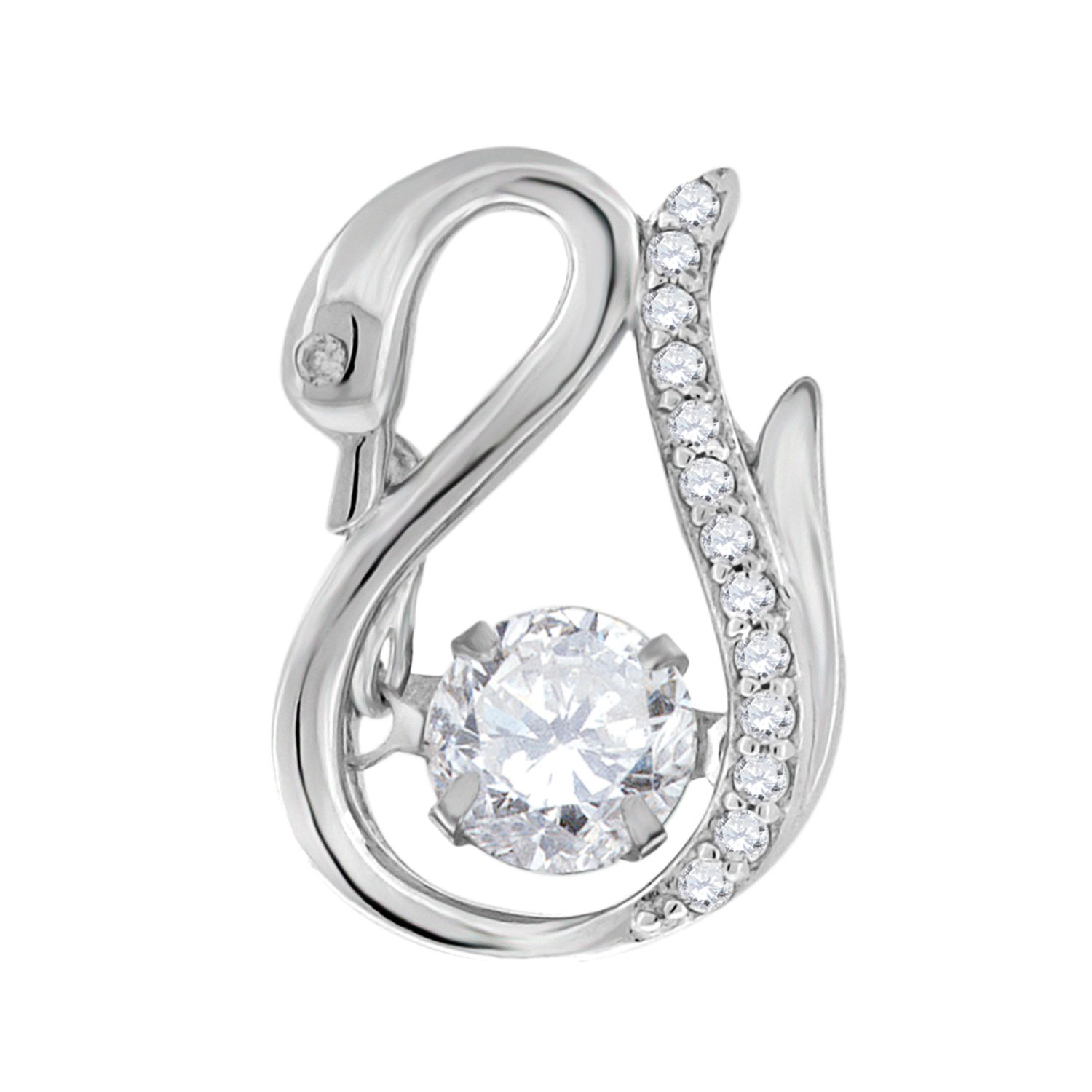 Jewels By Lux Sterling Silver Womens Moving Sparkling Round Cubic Zirconia CZ Swan Animal Fashion Charm Pendant Set With The Highest Quality Cubic Zirconia.