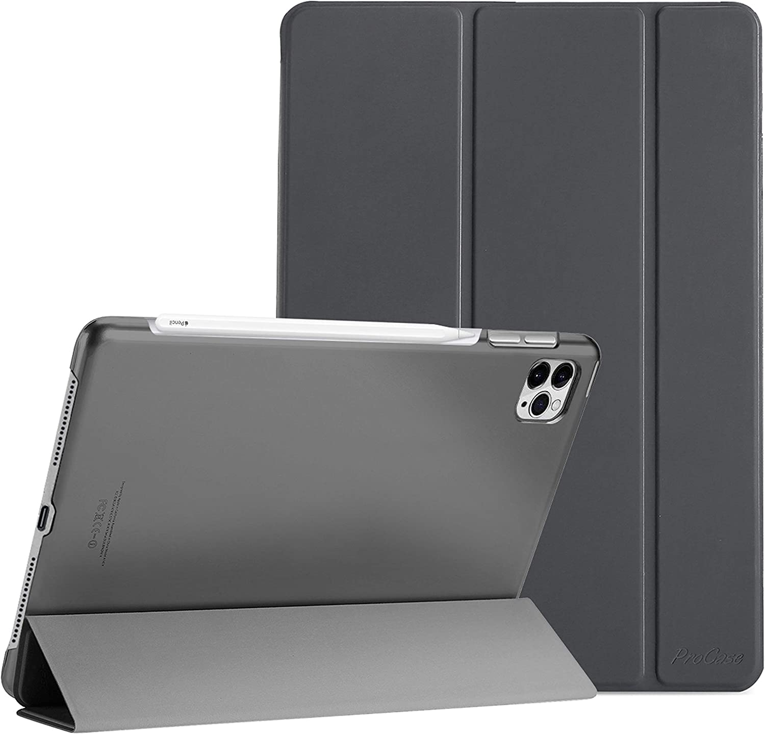 """ProCase iPad Pro 12.9 Case 4th Generation 2020 2018, [Support Apple Pencil 2 Charging] Slim Stand Hard Back Shell Smart Cover for iPad Pro 12.9"""" 4th Gen 2020 / iPad Pro 12.9"""" 3rd Gen 2018 –Grey"""