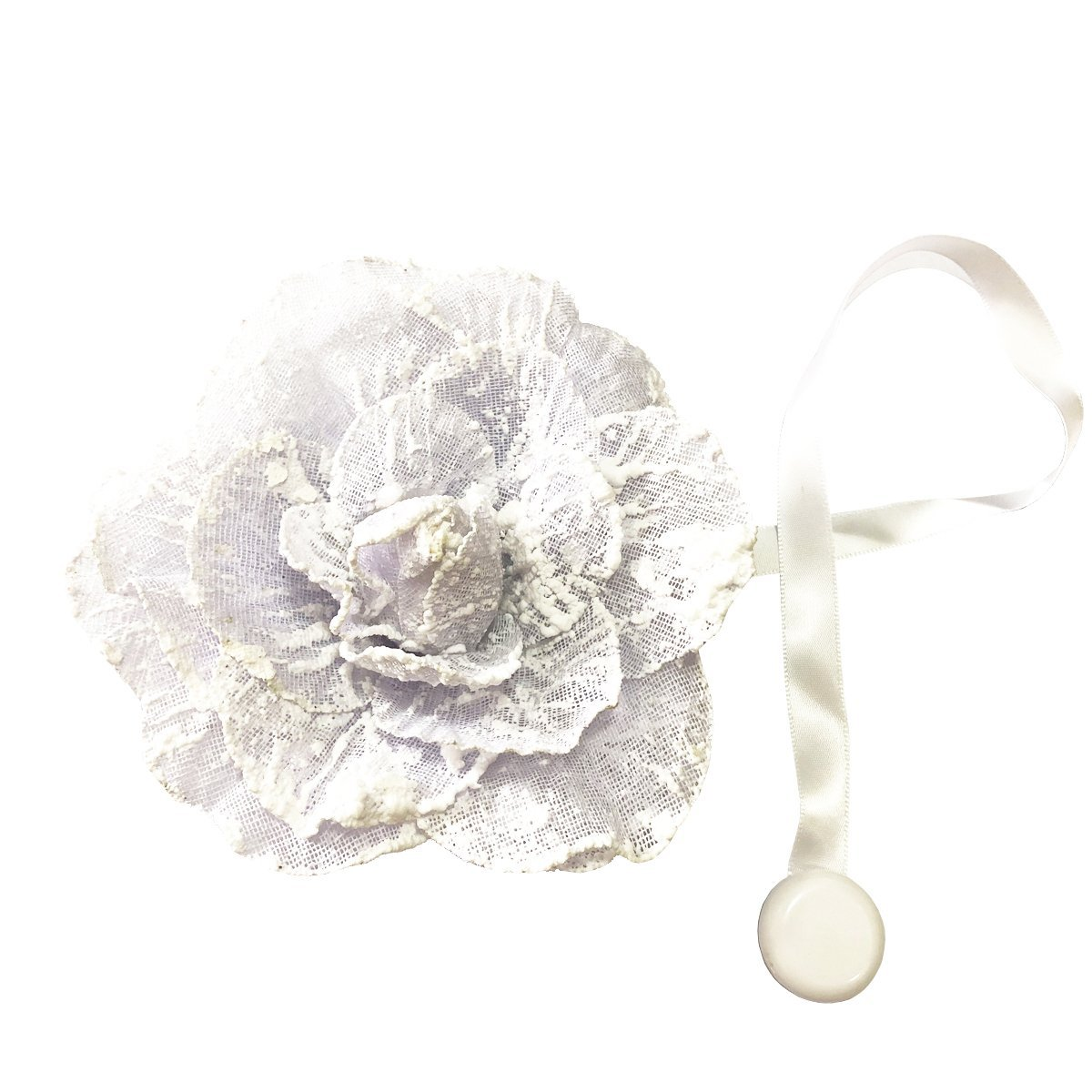 Chictie Magnetic Curtain Tiebacks White Bubble Flower Holdbacks Lace Rope for Drapery Home Indoor Room Décor