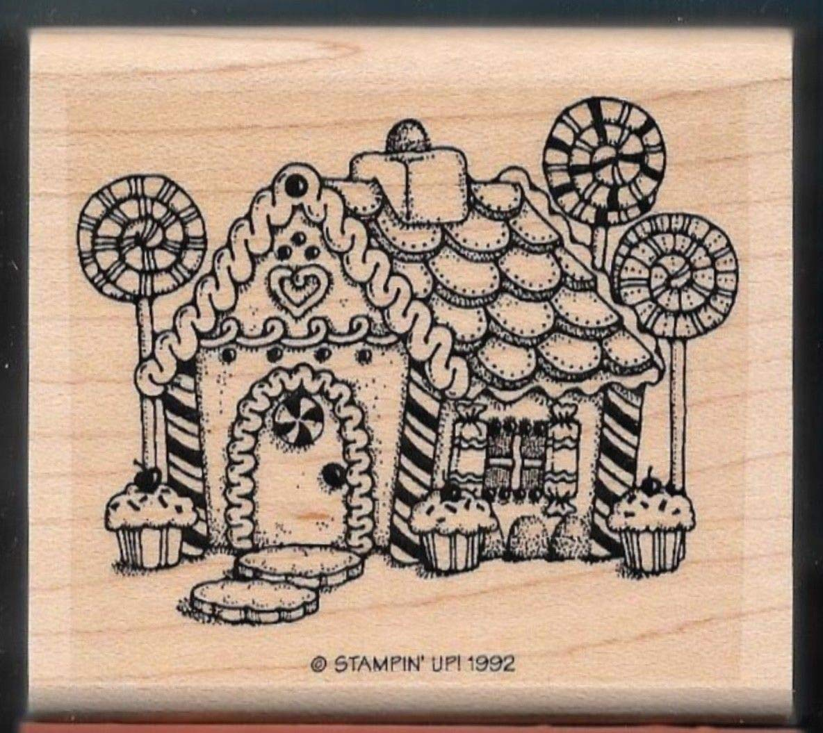 Rubber Stamp Frames Candy Cane Christmas Gingerbread House Home 1992 New Rubber Stamp