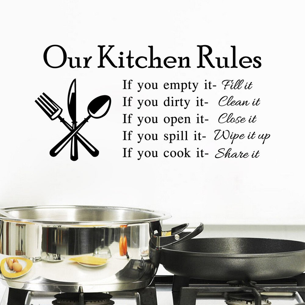 """BIBITIME Kitchen Rules Wall Decal Tile Window Sticker Vinyl Knife Fork Spoon Sayings Quotes DIY English Words Lettering Art Murals PVC Decor Finished Size 22.83"""" x 11.41"""""""