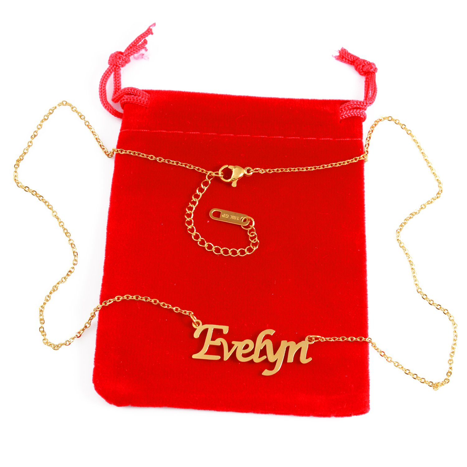 18ct Gold Plated Zacria Evelyn Name Necklace