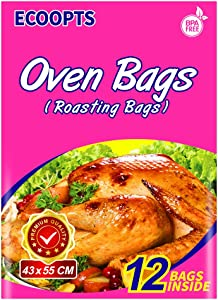 ECOOPTS Turkey Oven Bags Large Size Oven Cooking Roasting Bags for Chicken Meat Ham Seafood Vegetable - 12 Bags (17 x 21.6 IN)