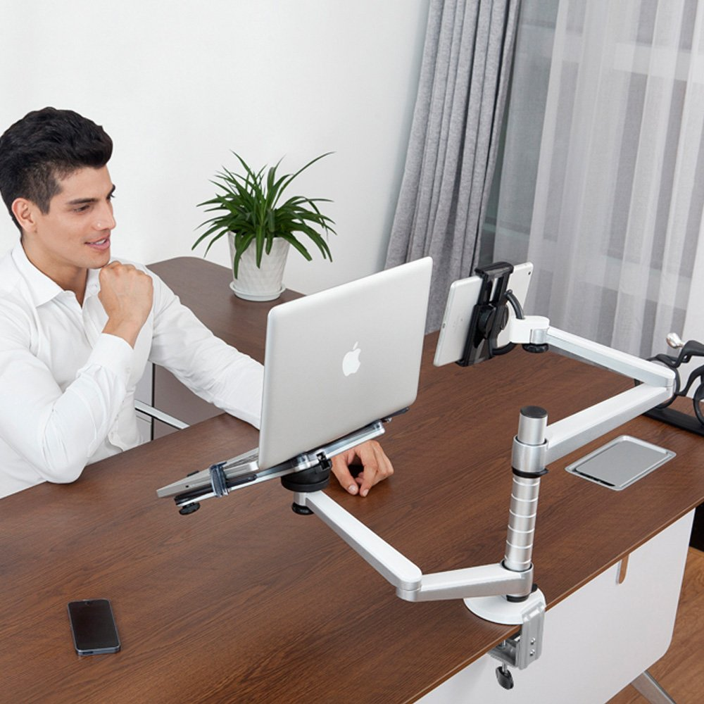 Mingo Labs OA-9X Dual Laptop and Tablet Desktop Mount, Silver