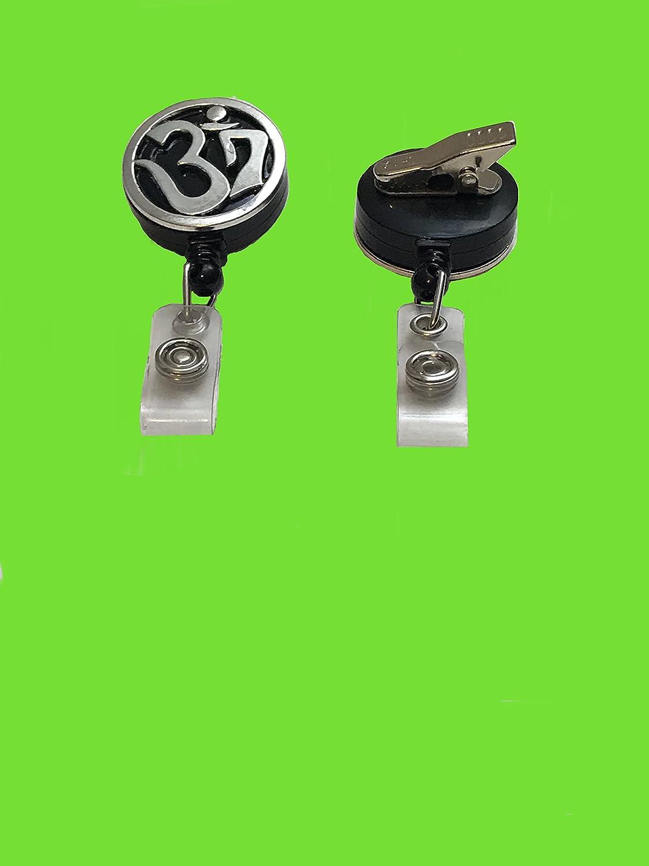 Black Badge Reel with Belt Slide Clip Om Aum Yoga White On Black Custom Retractable Clip On Badge Reel Lanyard Badge Holder