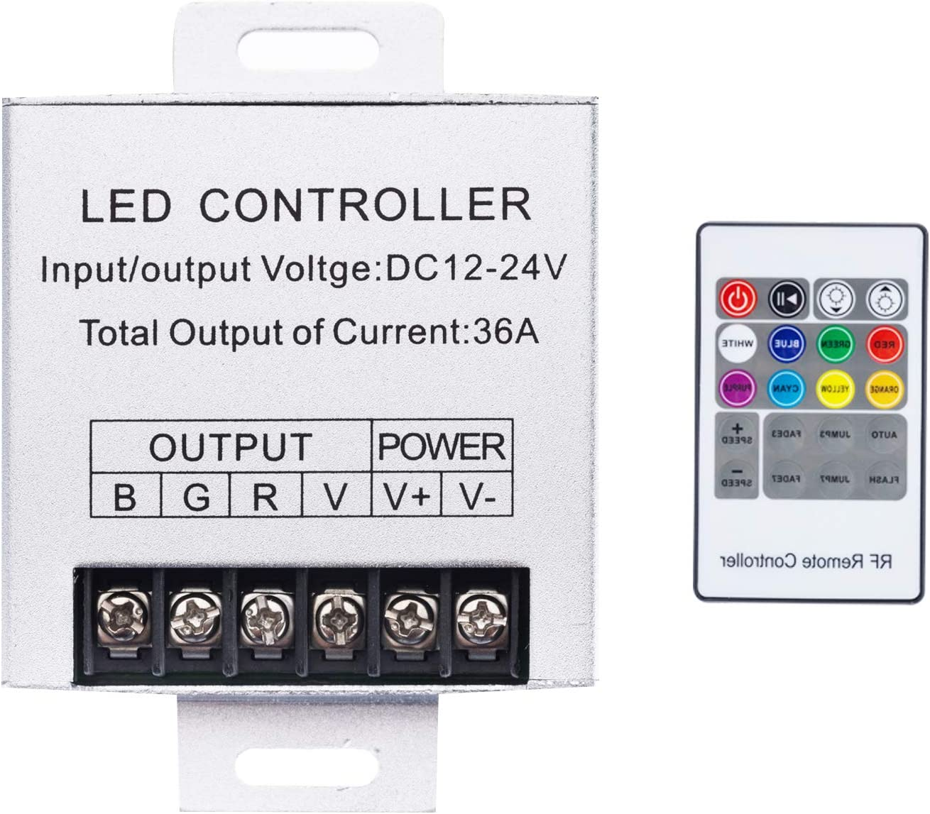 Shine Decor RF Receiver Controller with 2-core Wire Connected for 12V 6x12mm LED RGB Silicone Rope Lights only