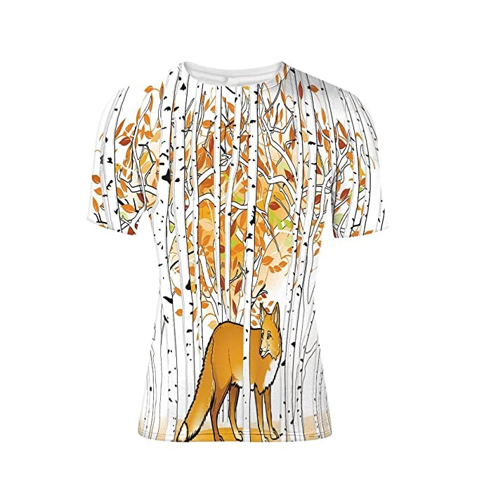 a972c150 Amazon.com: Tee Shirts Tops,Autumn Forest Birch Trees Rustic ...