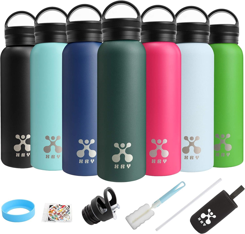 XRY Doble Pared de Acero Inoxidable con Aislamiento al vacío Botella de Agua, 600 ML Botellas de Agua Termica Niños Reutalizable, sin BPA, amistoso para Deportes al Aire Libre de Acampar del Yoga