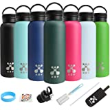 XRY Double Wall Stainless Steel Vacuum Insulated Water Bottle,Thermos Flask 600ml,Leakproof,BPA Free,Friendly for Kids Gym Outdoor Sports Yoga Camping,with 2 Exchangeable Caps,Straw,Cleaning Brush