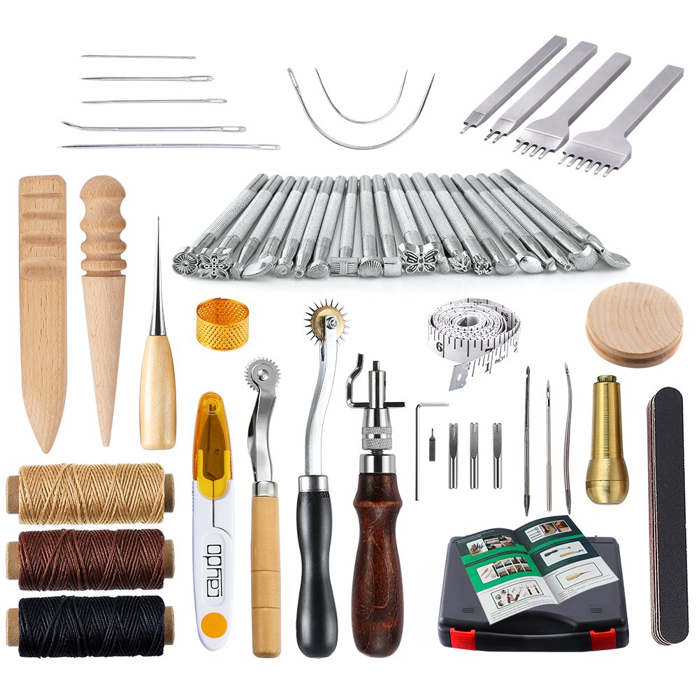 Caydo 59 Pieces Leather Craft Hand Tools Kit for Hand Sewing Stitching, Stamping Set and Saddle Making Including Instructions 4336862835