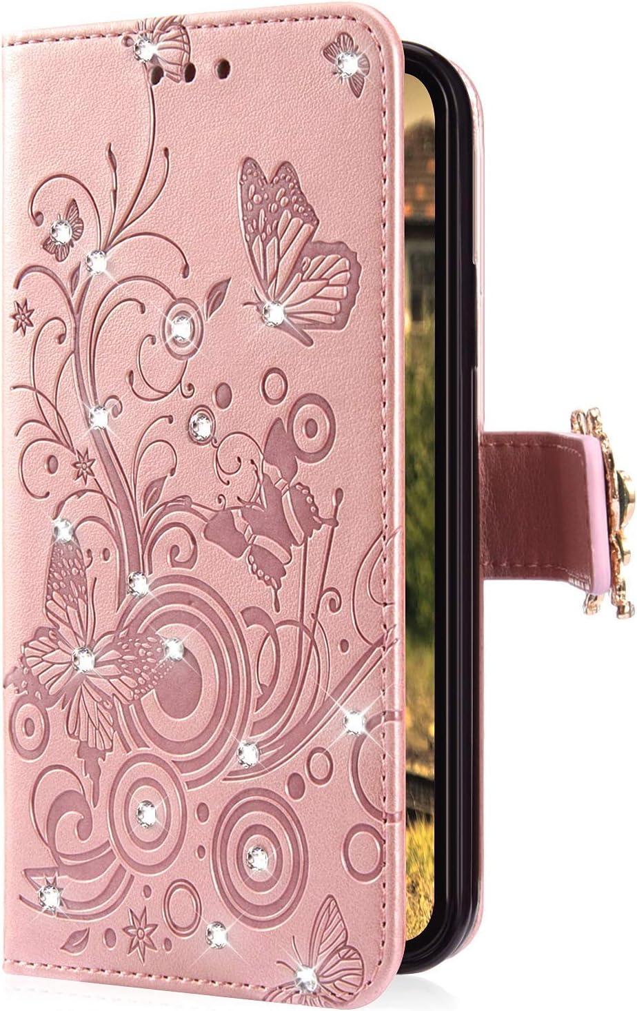 PU-Leder mit Kartenf/ächern Ikasefu Schutzh/ülle f/ür Galaxy J3 2018 mit Strasssteinen Strass-Pr/ägung Blumen f/ür Samsung Galaxy J3 2018 violett magnetisch gl/änzender Schmetterling