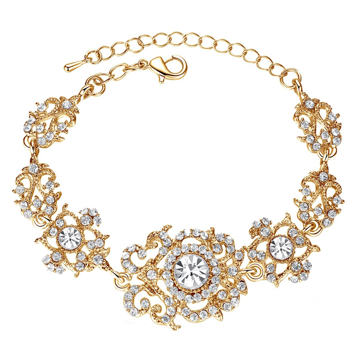 mecresh Gold Color Crystal Rhinestone Wedding Bracelet for Women Brides Bridesmaid …