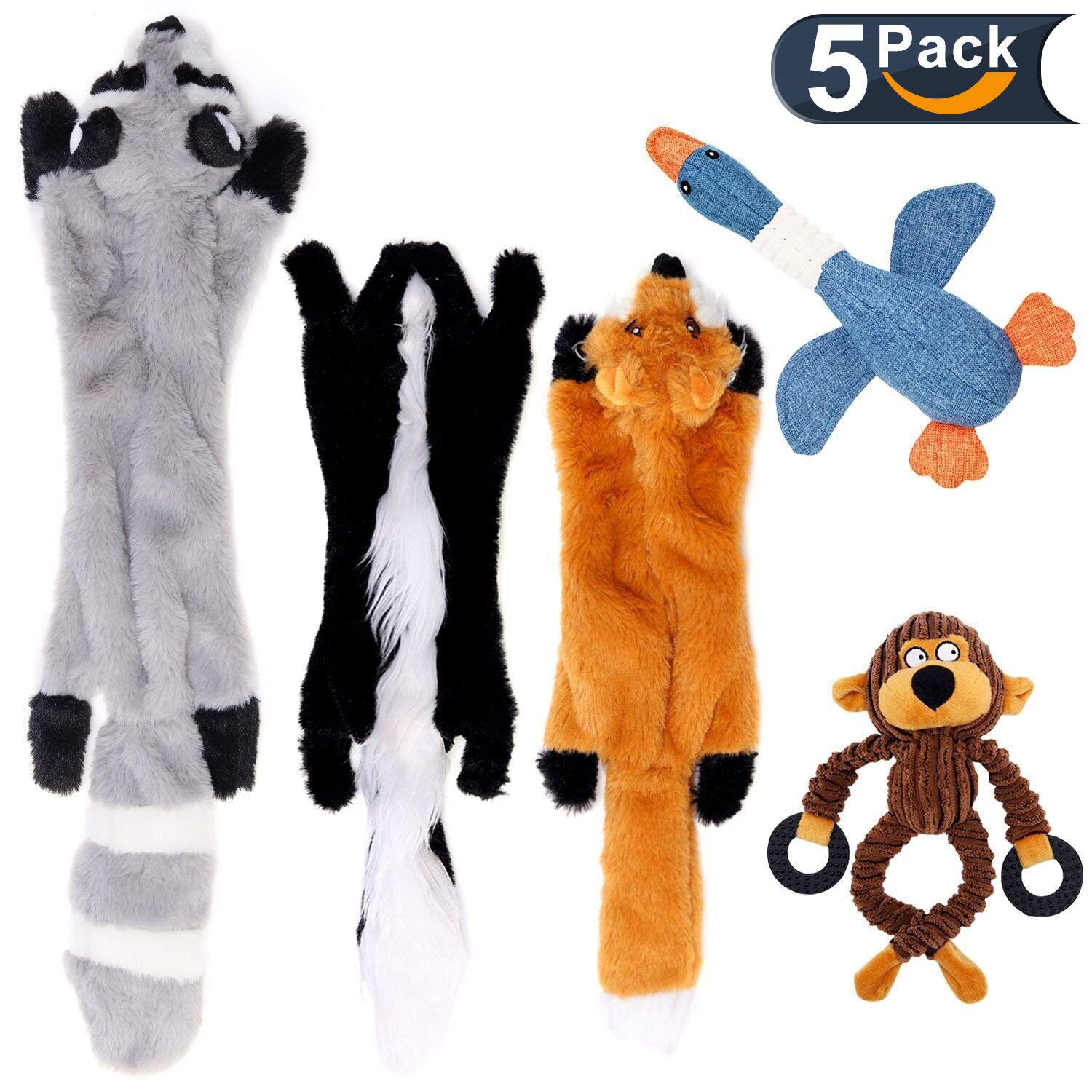 LOVEKONG Stuffingless Dog Toys, No Stuffing Dog Toys of Raccoon Fox and Skunk, Plush Squeaky Toys for Large Medium Small Dogs, Plush Animal Chew Dog Toys 5 Pack