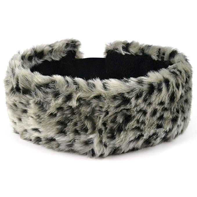 Women Earmuffs Winter Ear Warmer Teenage Headband Fur Round Leopard Adult Warm