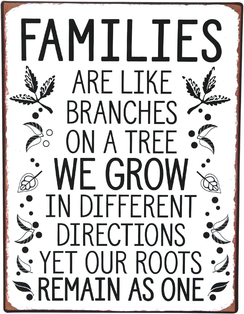 NIKKY HOME Inspirational Metal Wall Sign with Family Quote Vintage Tin Plaque