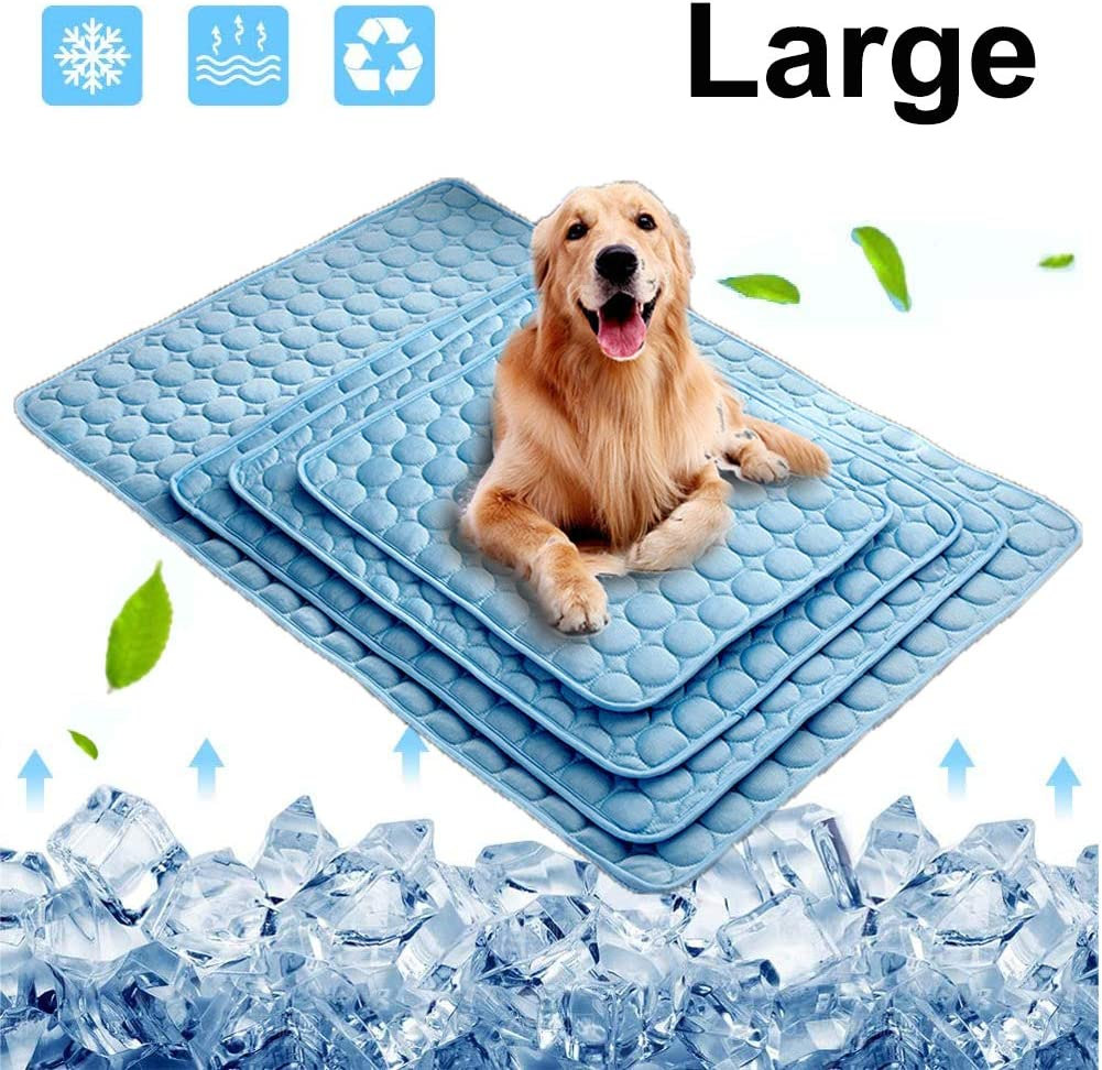 Dog Cooling Mat, Pet Cooling Pads for Dogs Cats Washable Summer Kennel Mat, Breathable Self Cooling Blanket Pad Ice Silk Sleep Mat Non-Toxic Small Medium Large Extra Large for Home Travel