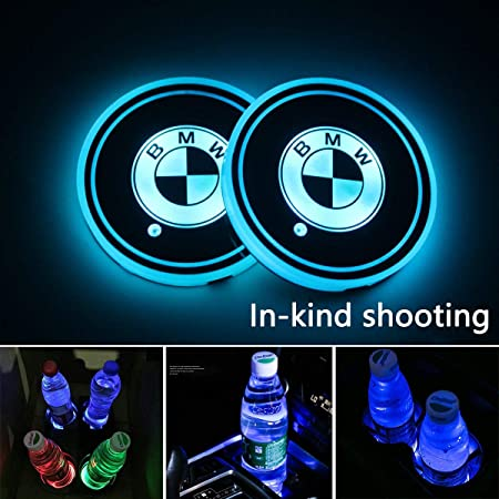 Amazon.com: 2Pcs LED Car Logo Cup Holder Lights for BMW, 7 Colors Changing USB Charging Mat Luminescent Cup Pad, LED Interior Atmosphere Lamp Decoration ...