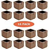 Chair Leg Floor Protectors, WarmHut 16pcs Brown Silicone Table Furniture Leg  Feet Tips Covers Caps