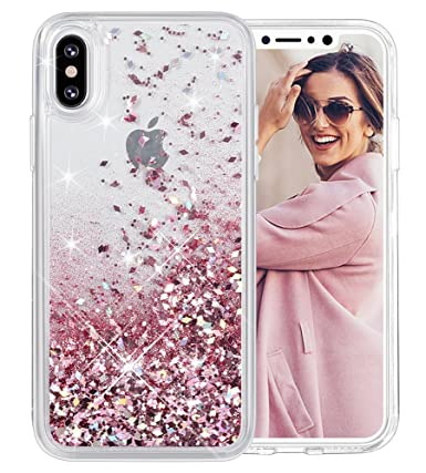 iPhone X Case, Caka iPhone Xs Glitter Case Liquid Series Girls Luxury  Fashion Bling Flowing Liquid Floating Sparkle Glitter Cute Soft TPU Case  for