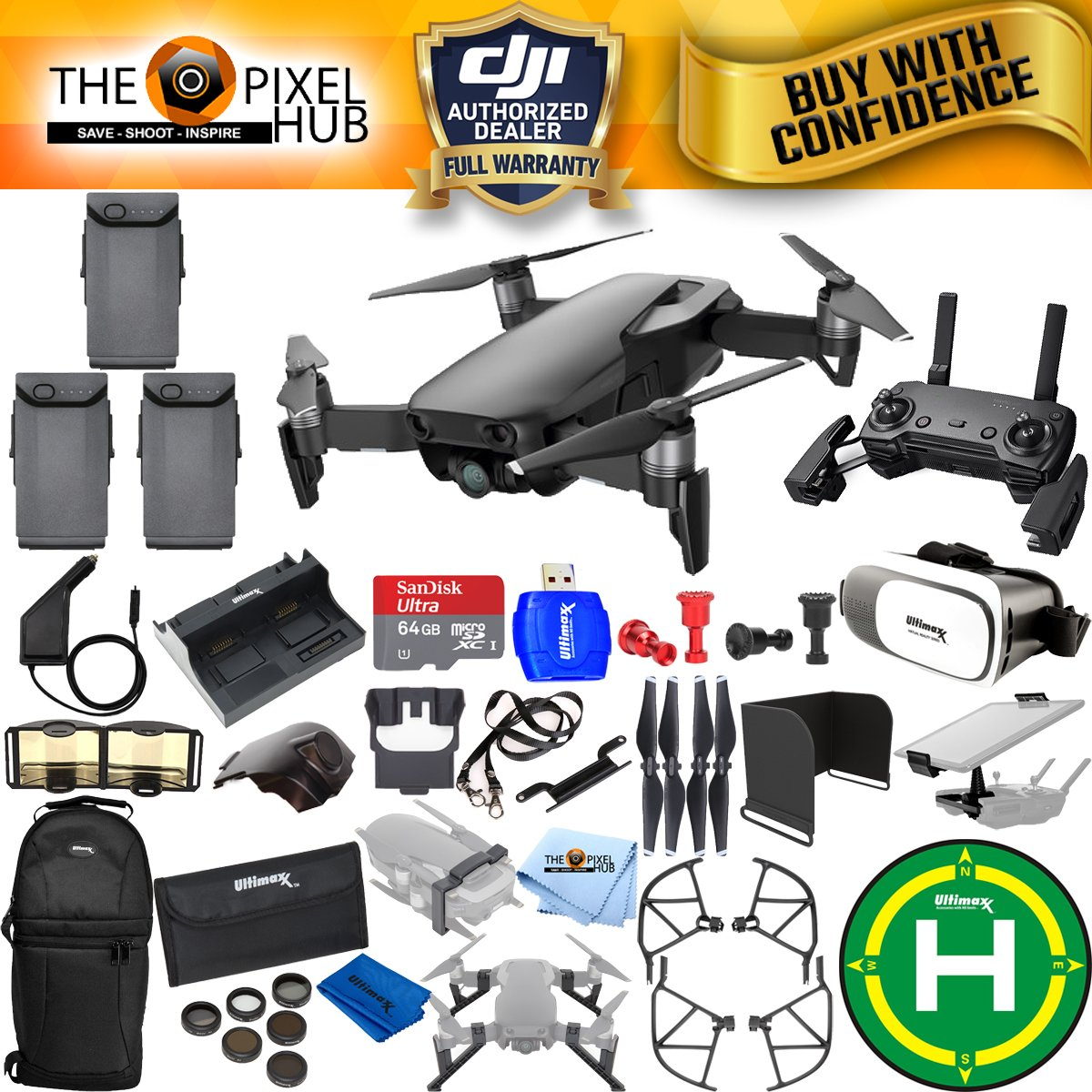 DJI Mavic Air Extreme All You Need Accessory Bundle with 64GB Micro SanDisk, 8 Piece Filter Kit, Charging Hub, Car Charger, Backpack + Much More (3 Battery (Total))