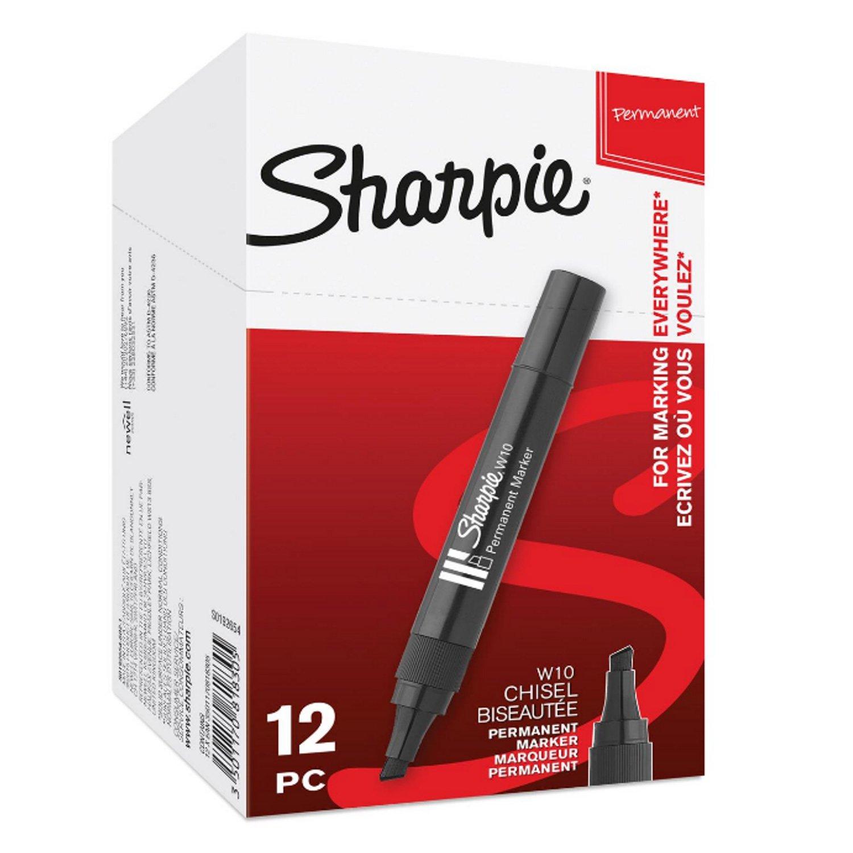 Sharpie W10 Pennarelli indelebili con punta a scalpello blu Scatola da 12