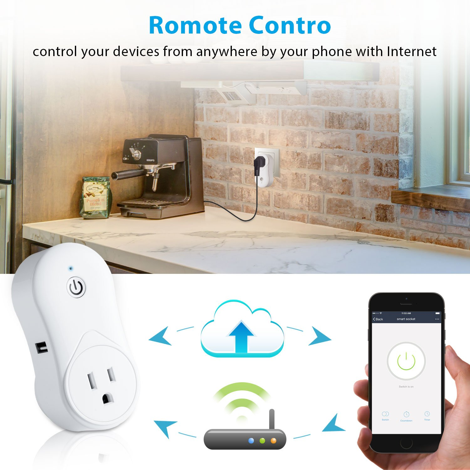 Cevitor Smart Home WiFi Power Socket Plug Outlet, Alexa and Smart Phone Wireless Controls, Not Hub Required (Fashion 2-Pack) by Cevitor (Image #5)