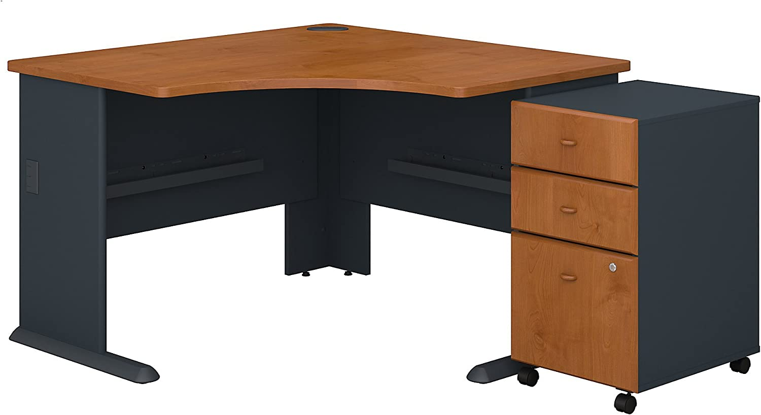 Bush Business Furniture Series A 48W Corner Desk with Mobile File Cabinet in Natural Cherry and Slate