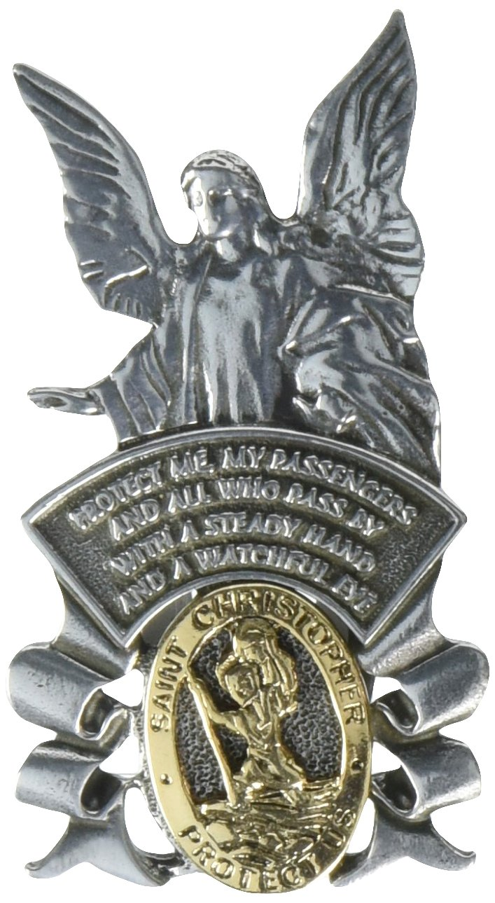 Cathedral Art KVC122 Auto Visor Clip, St. Christopher/Guardian Angel, 2-3/8-Inch by Cathedral Art