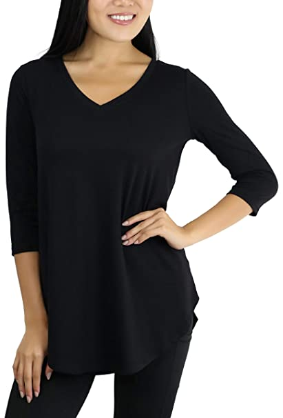 5add5222d ToBeInStyle Women's 3/4 Sleeve Relaxed Fit V-Neck Round Hem Top at ...