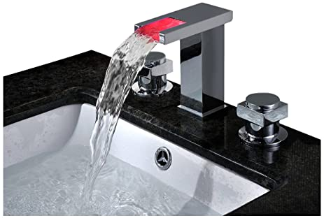 Sumerain S1339CM Double Handle Widespread LED Waterfall Bathroom ...