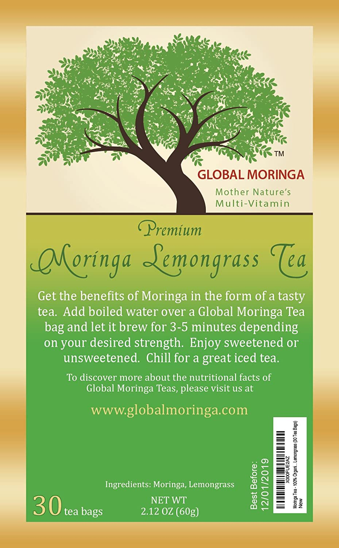 Global Moringa - Refreshing Organic Moringa Tea with Lemongrass (30 Tea Bags) Ghana Grown, American Seller