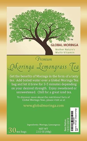 Global Moringa - Refreshing Organic Moringa Tea with Lemongrass (30 Tea  Bags) Ghana Grown,
