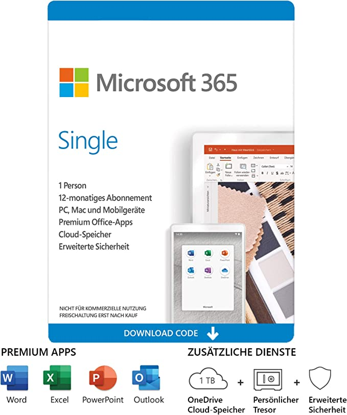 Microsoft 365 Single 1 Nutzer Mehrere Pcs Macs Tablets Und Mobile Geräte 1 Jahresabonnement Download Code Software