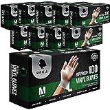 Gorilla Supply 1000 Vinyl Gloves M Case Powder Free(100 of 10) Latex Free Extra Strong Food, Medium