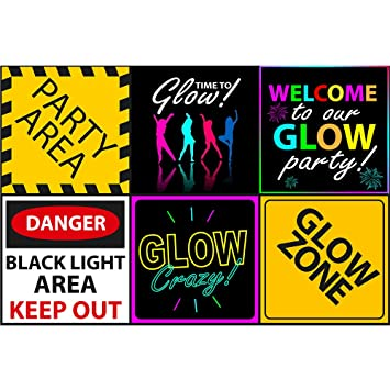 Fantastic Amazon Com Glow Party Sign 6 Cutouts Black Light Party Download Free Architecture Designs Meptaeticmadebymaigaardcom