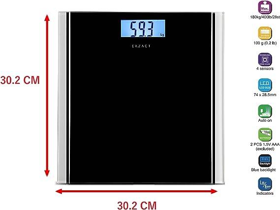 Exzact Báscula Corporal Electrónica/Báscula de Baño Digital/Escala ...