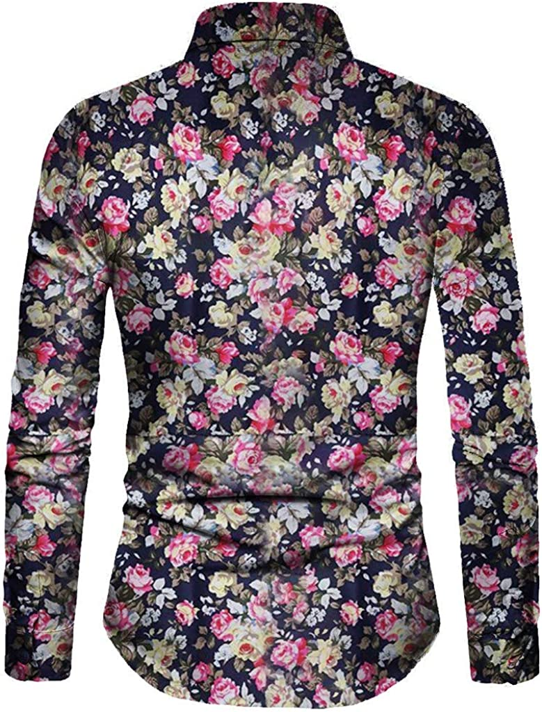 Stoota Fashion Mens Casual Printed Floral Long Sleeve Button-T-Shirt-Top-Blouse