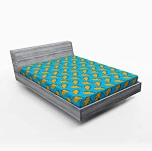 Ambesonne Taco Fitted Sheet, Menu Corn Tortilla with Veggies and Beef Vibrant Lunch Restaurant Delicious, Soft Decorative Fabric Bedding All-Round Elastic Pocket, Queen Size, Yellow Blue