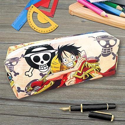 Estuche de anime ONE PIECE Bolsa de Lápiz Lapicero Lapices Pencil Case Portalapices Neceser Maquillaje para Material de Papelería con para Estudiantes en Escuela: Amazon.es: Oficina y papelería