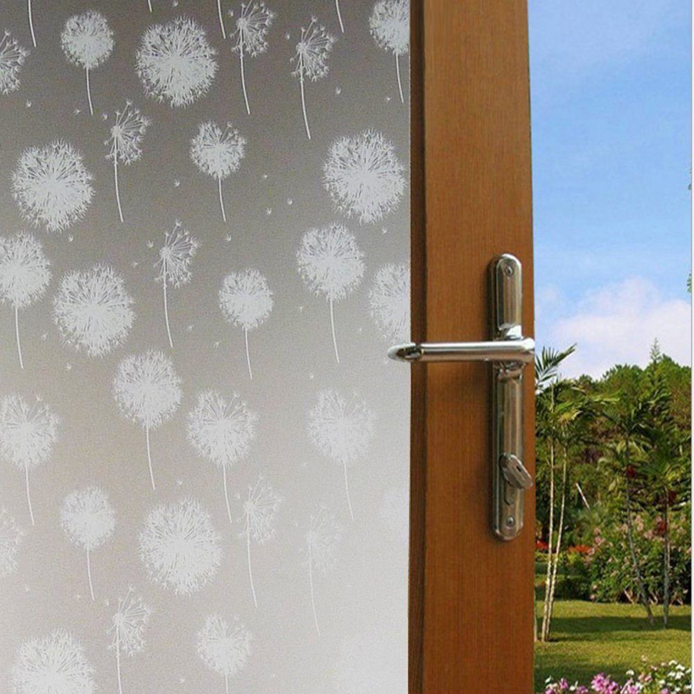 Waterproof Sticker Frosted Dandelion Glass Film Office Window Privacy Security Sticker Decal 45x100cm(17.7x39.4inch)