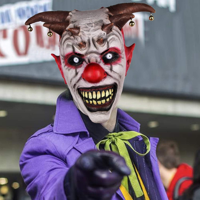 molezu Bell Clown Mask Halloween Latex Horror Bell Copricapo Wraith Maschera Spaventosa per Adulti Performance Puntelli Carnival Party Mask.