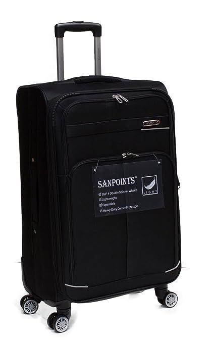 1237e3121 Set Of 4 Light Weight 4 Wheeled 360' Spinner Sanpoints Suitcases SA93 (Black  / Medium - H74cm x W43.5cm x D26.5cm / 4kg): Amazon.co.uk: Luggage