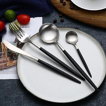 AOLVO Cuberteria Creativo Elegante, 4 Piezas Juego de Cubiertos de Acero Inoxidable con Cuchara Tenedor