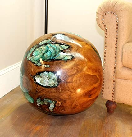 Amazon Com The King S Bay Giant Teak Wood Ball Blue W