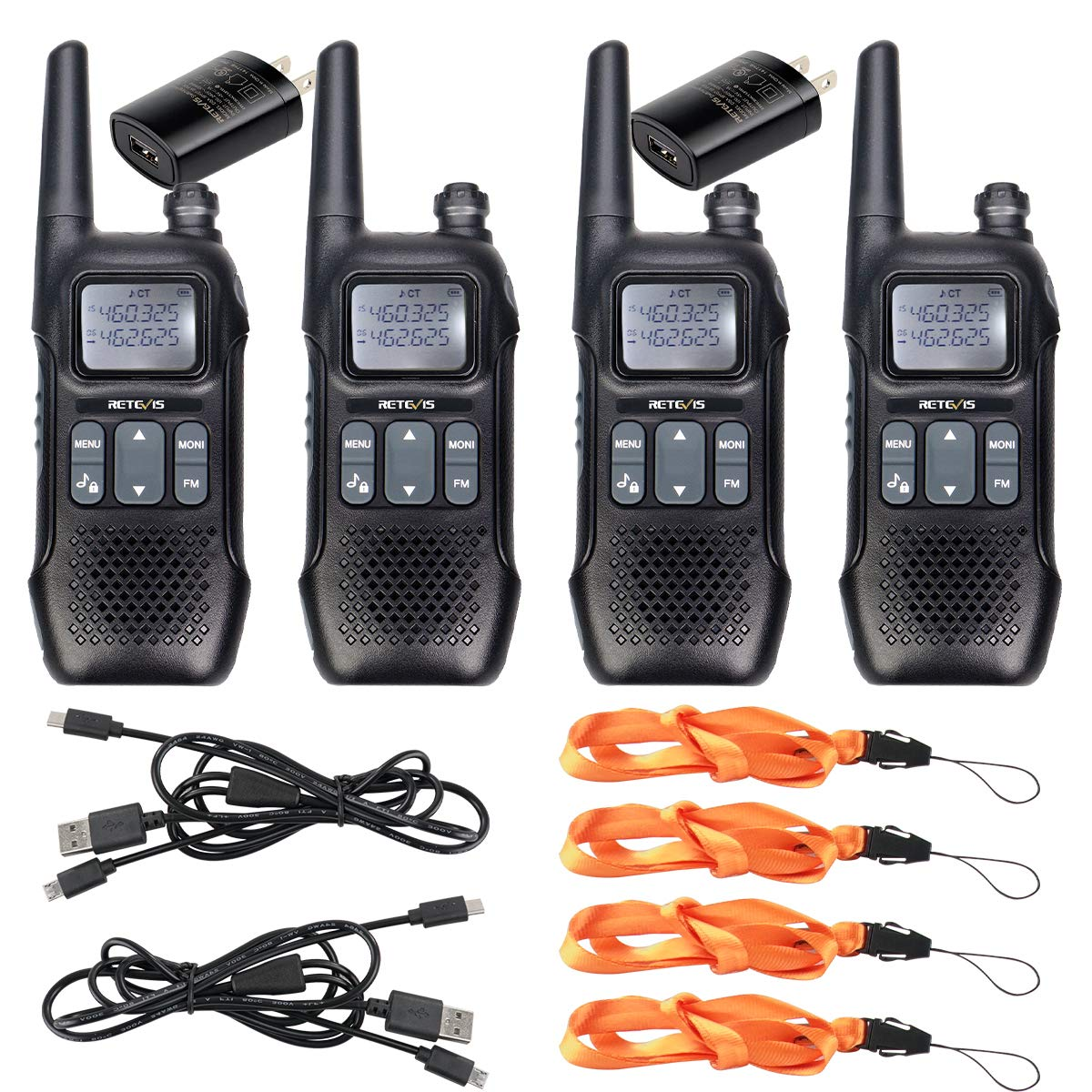 Retevis RT16 2 Way Radio Walkie Talkies Rechargeable FRS NOAA FM Radios Dual Watch 121 Privacy Codes Two-Way Radio for Adult with Flashlight 4 Pack