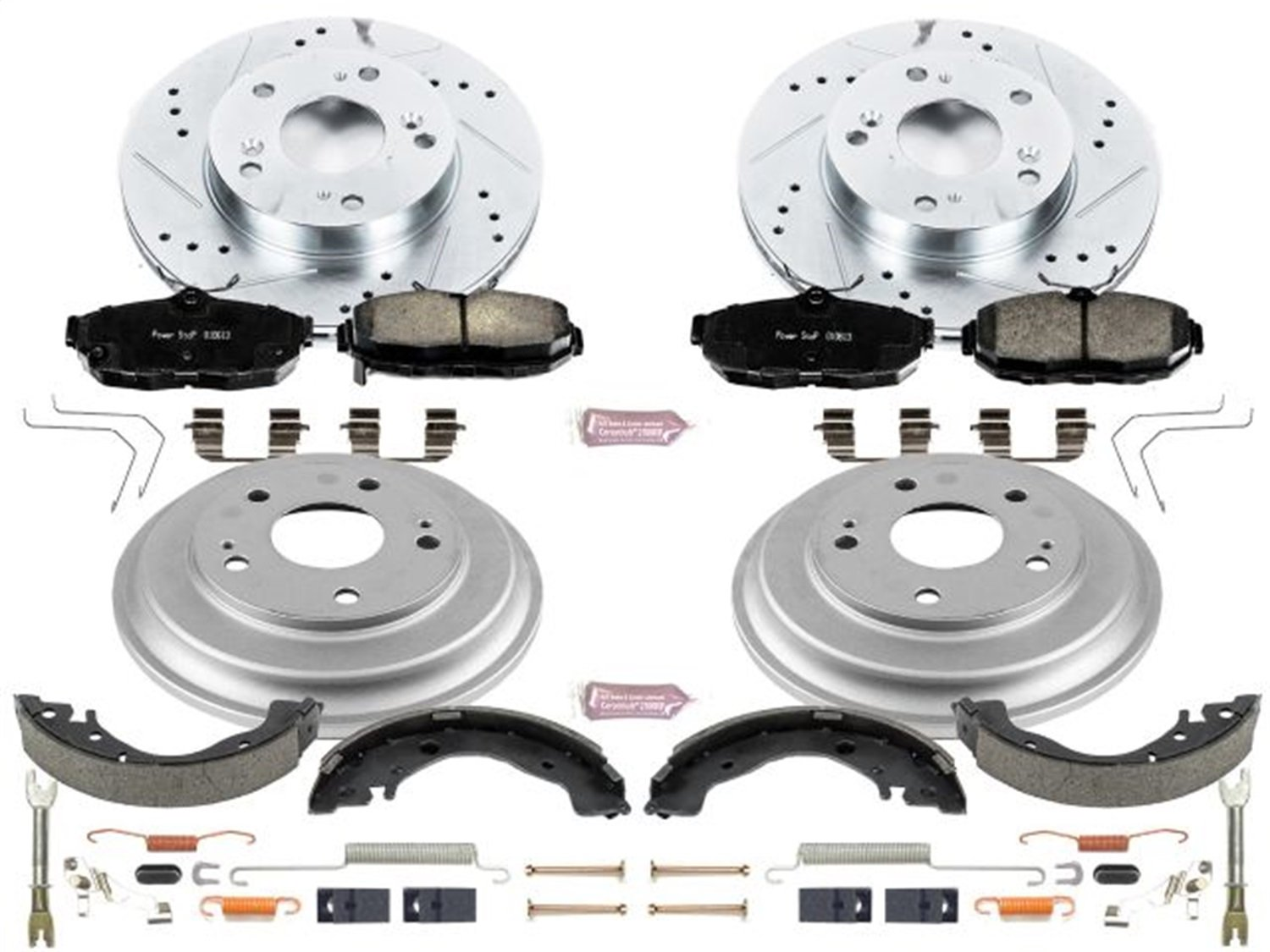 Power Stop Front /& Rear K15242DK Performance Pad Rotor Drum and Shoe Kits