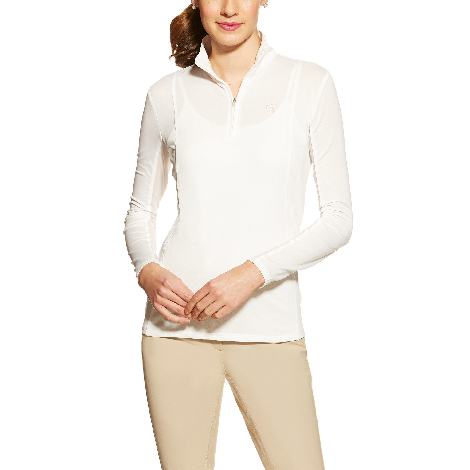 Ariat Women's Sunstopper 1/4 Zip Pullover, White, Small