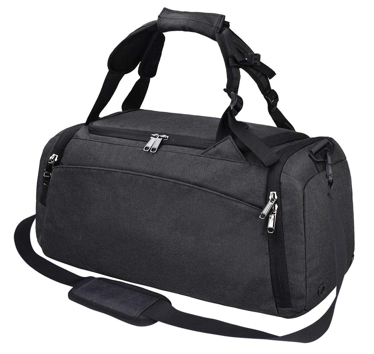 Gym Duffle Bag Waterproof Travel Weekender Bag for Men Women Duffel Bag Backpack with Shoes Compartment Overnight Bag 40L Black by NEWHEY